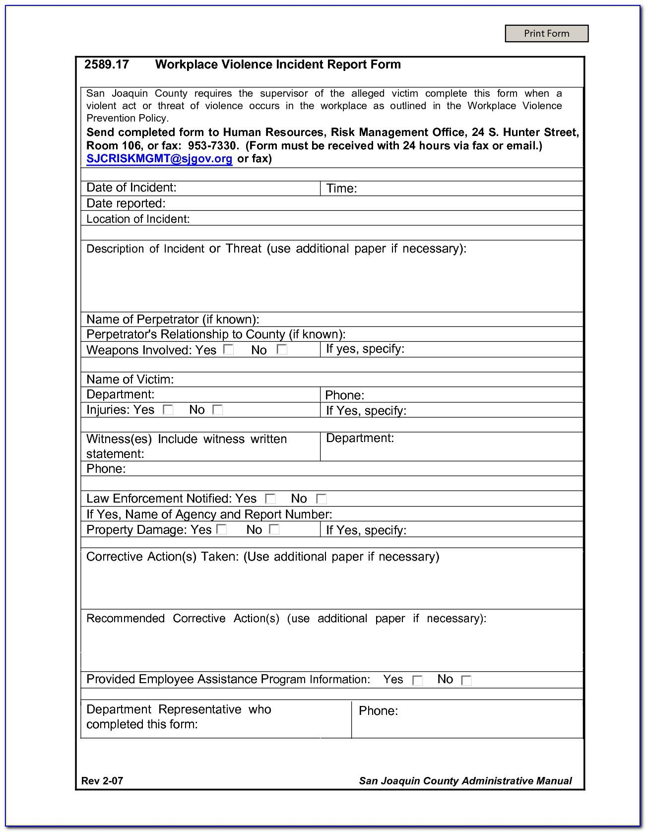 Workplace Health And Safety Inspection Forms