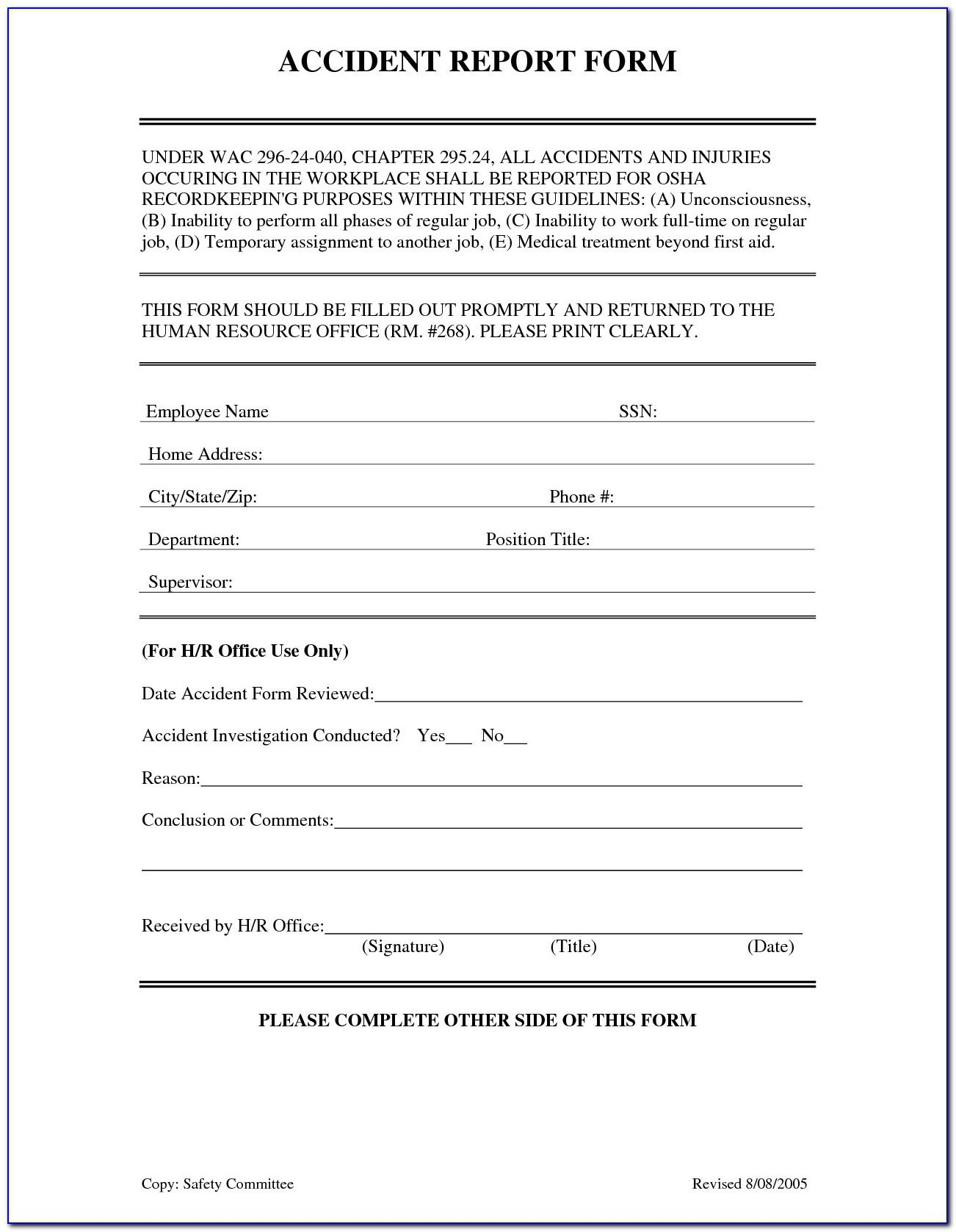 Workplace Incident Report Form Template Nsw