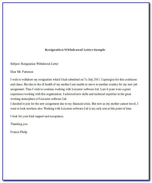Write Resignation Letter Example Uk