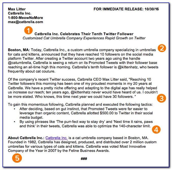 Written Press Release Example