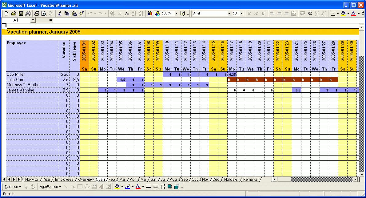 Yearly Vacation Calendar Excel Template