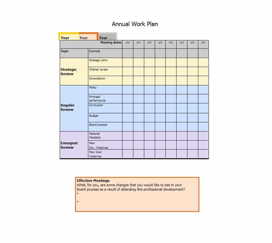 Yearly Work Planner Template Excel
