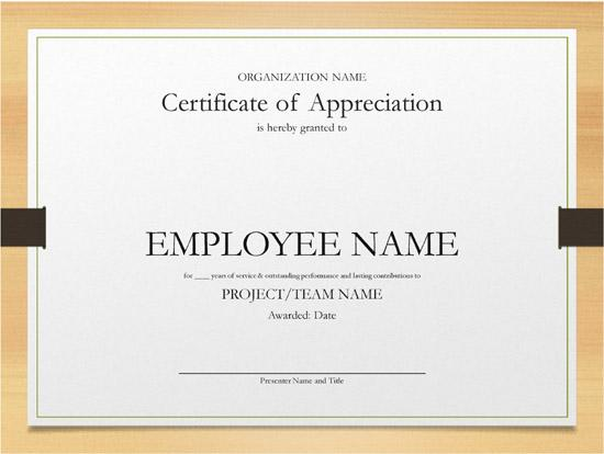 Years Of Service Award Certificate Templates Free