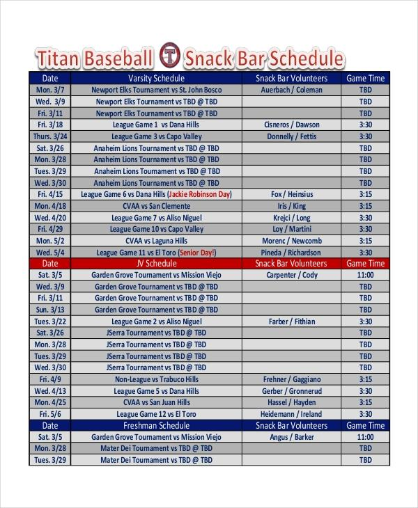 Youth Baseball Game Schedule Template