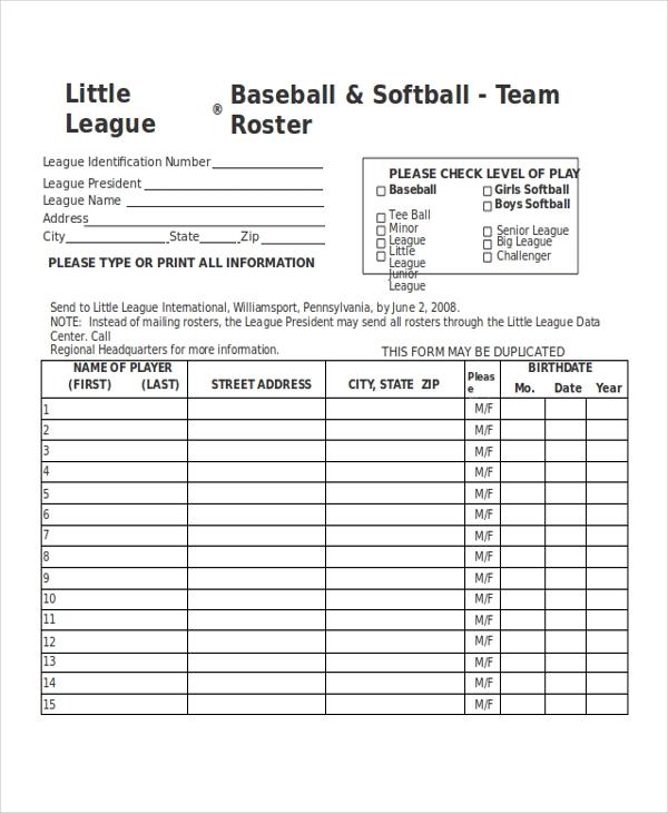 Youth Baseball Schedule Templates