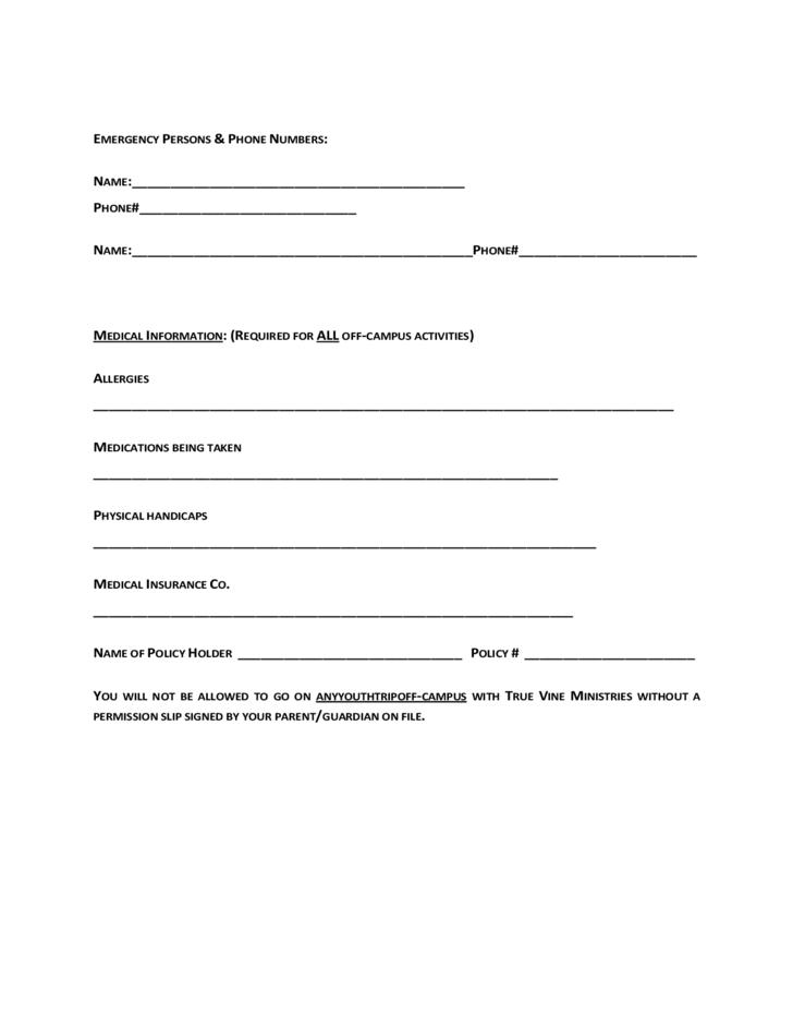 Youth Club Registration Form Template