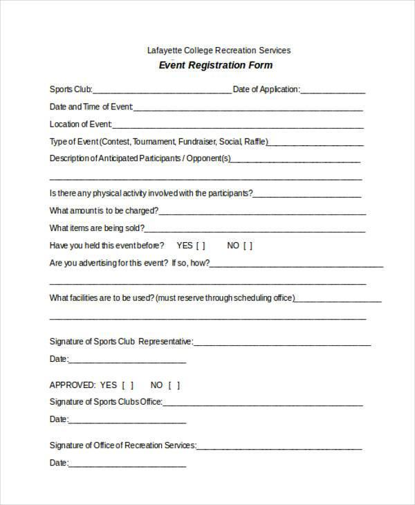 Youth Football Registration Form Template
