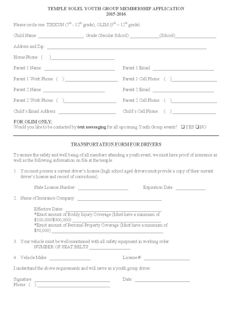 Youth Group Registration Form Template