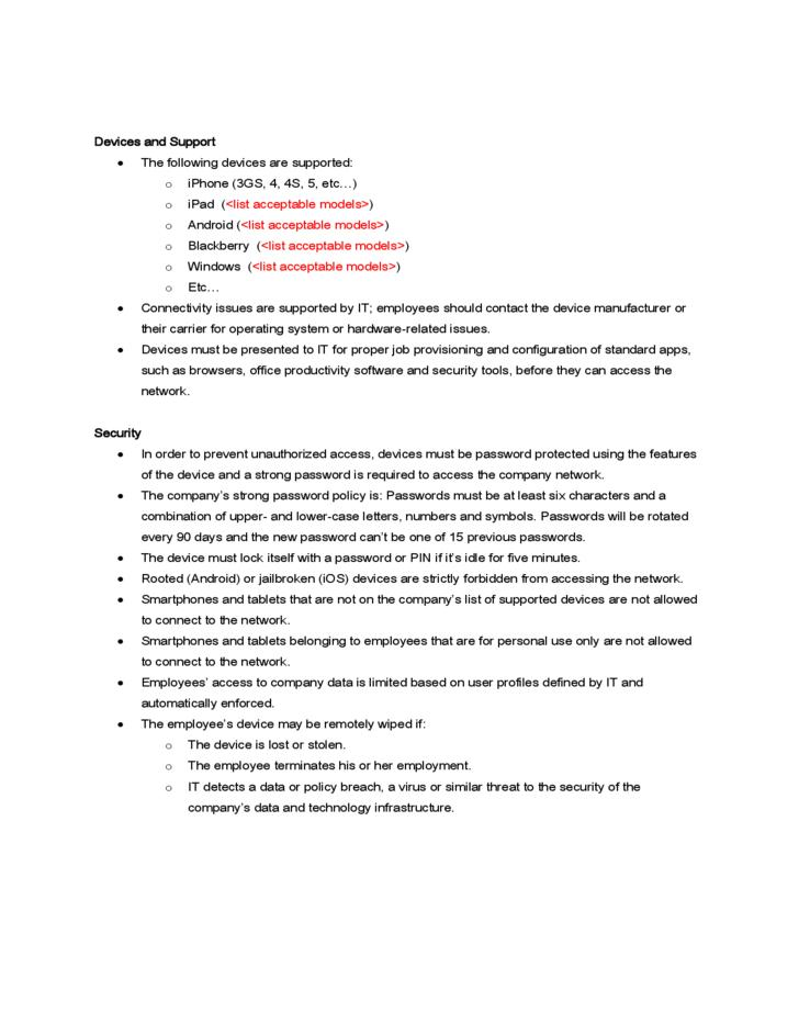 Zenprise Byod Policy Template