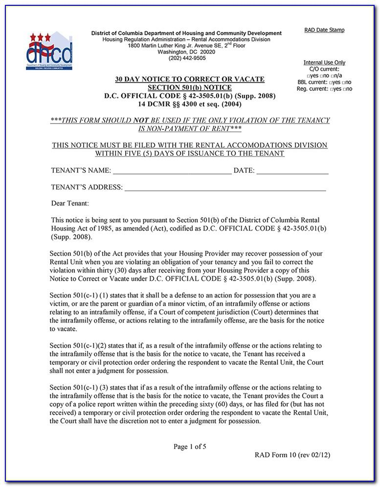 30 Day Eviction Notice Template Pdf