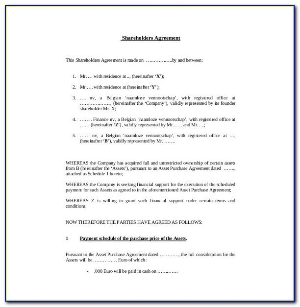 Australian Shareholders Agreement Template Free