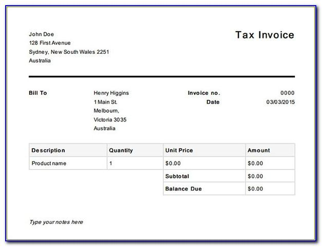 Australian Tax Invoice Template Word