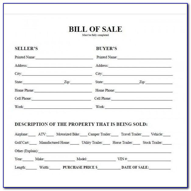 Auto Bill Of Sale Template Ohio