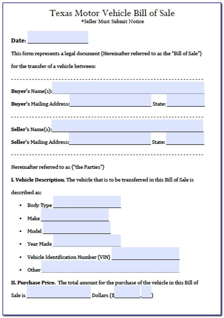 Auto Bill Of Sale Template Texas