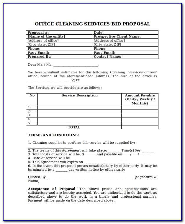 Bid Proposal Template For Cleaning Services