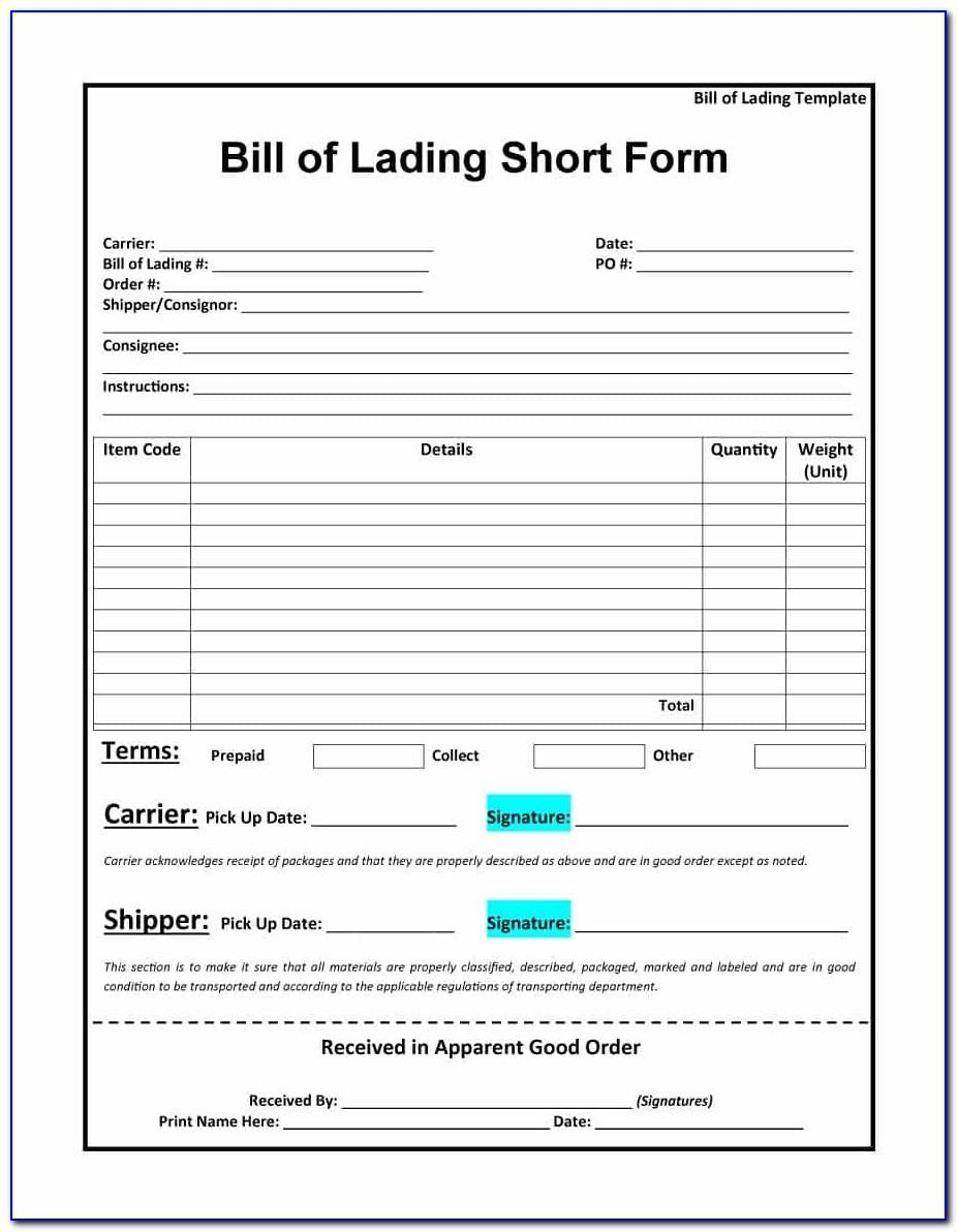 Bill Of Lading Short Form Template Pdf