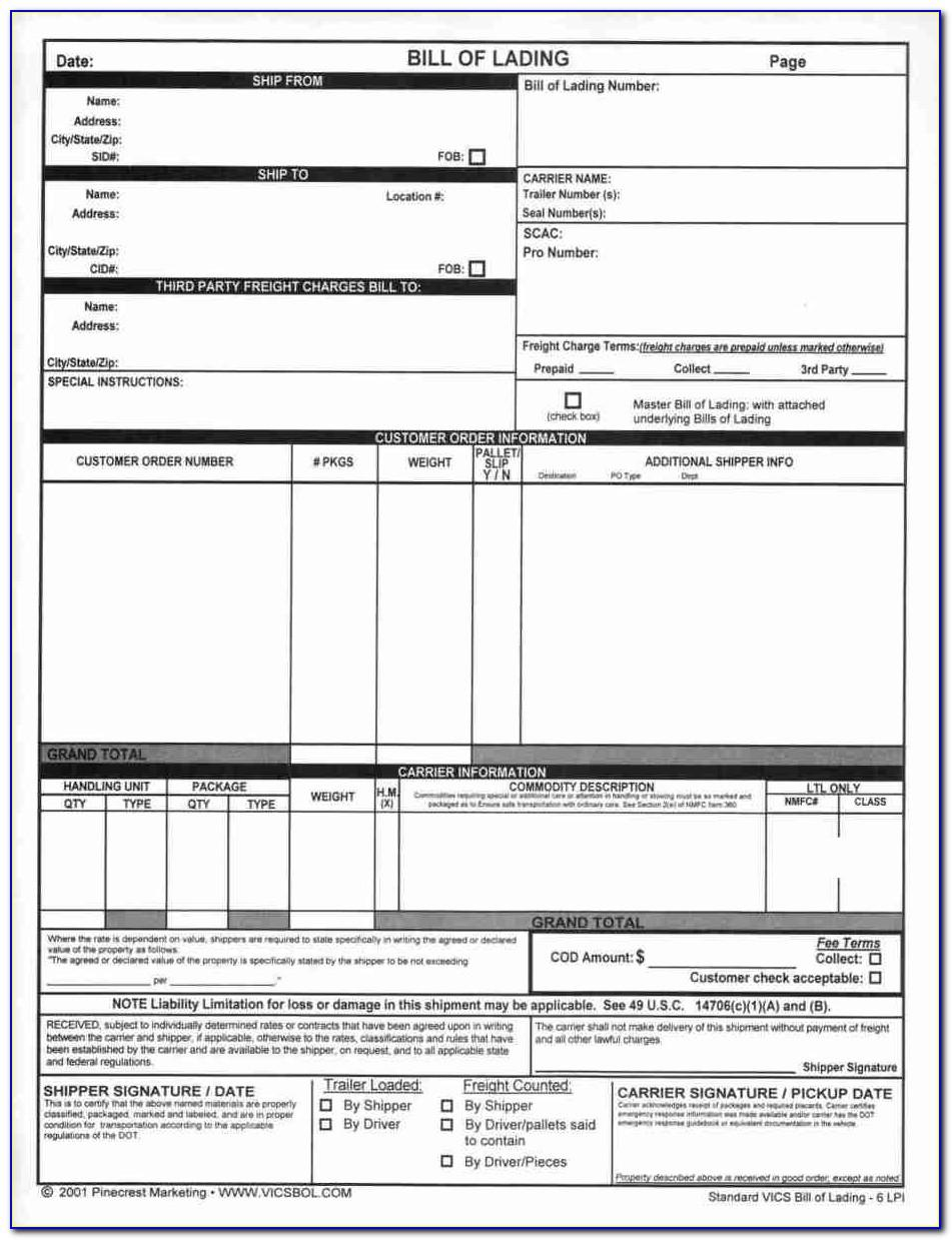 Bill Of Lading Template Excel Free