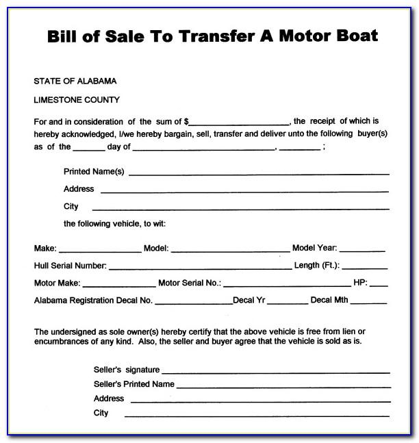 Bill Of Sale For Boat Template Australia