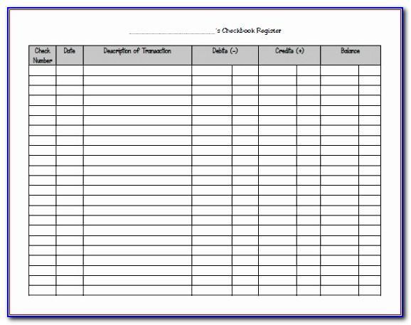 Blank Checkbook Register Template Excel