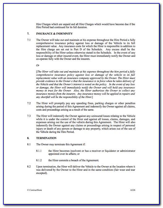 Car Hire Agreement Template Uk