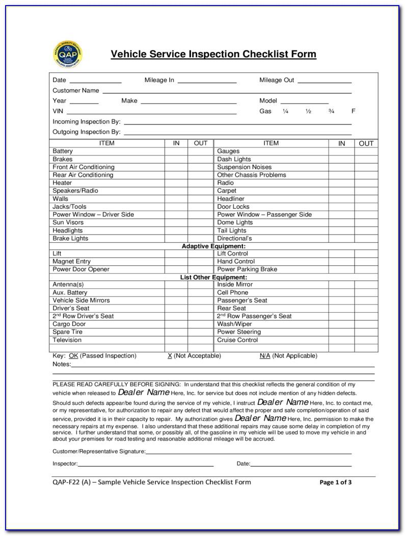 Car Inspection Forms Pdf