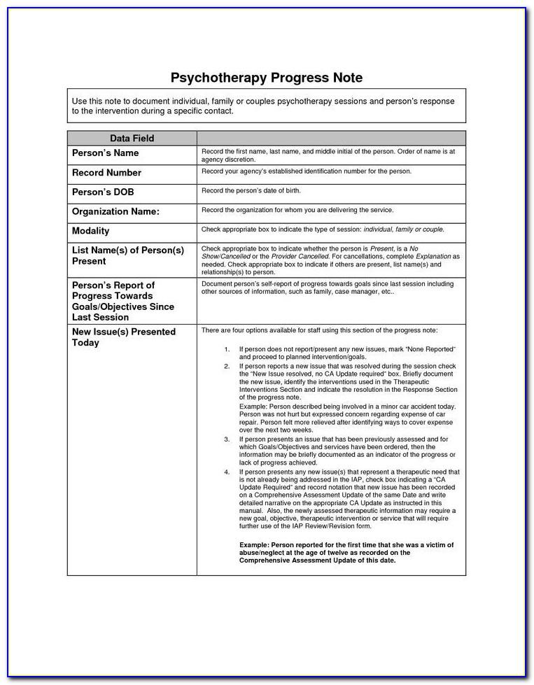 Cbt Progress Note Template