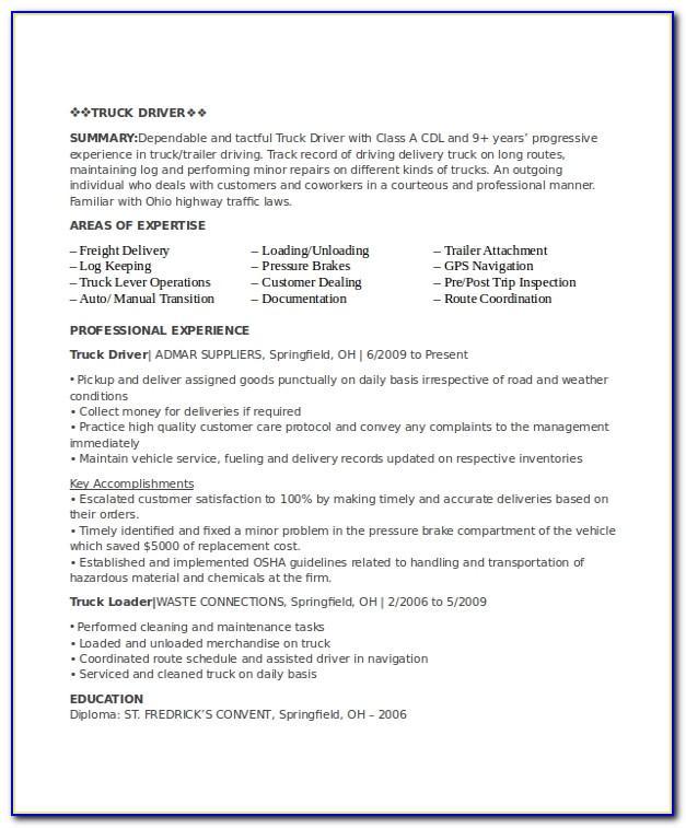 Cdl Driver Employment Application Template