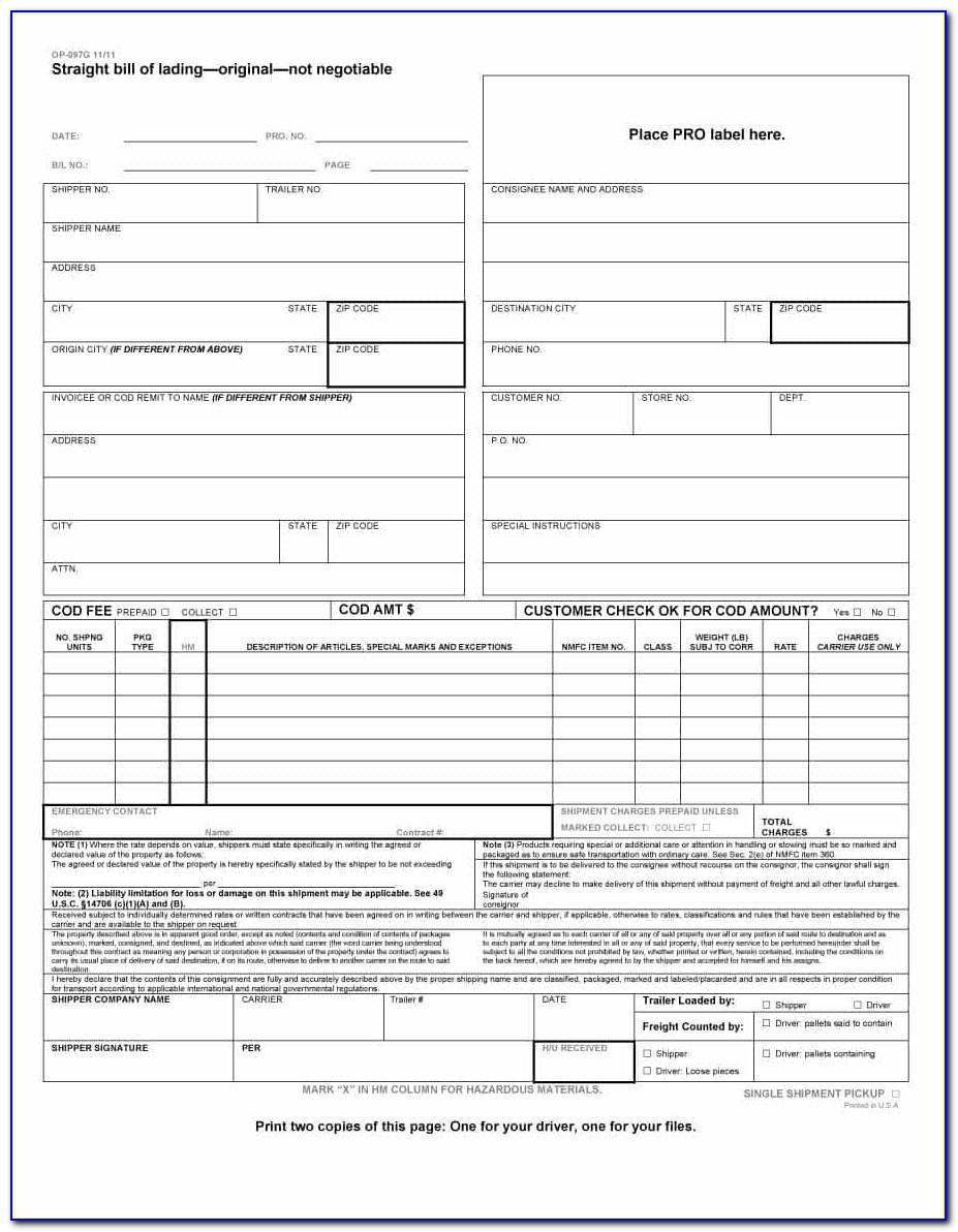 Central Freight Bill Of Lading Form