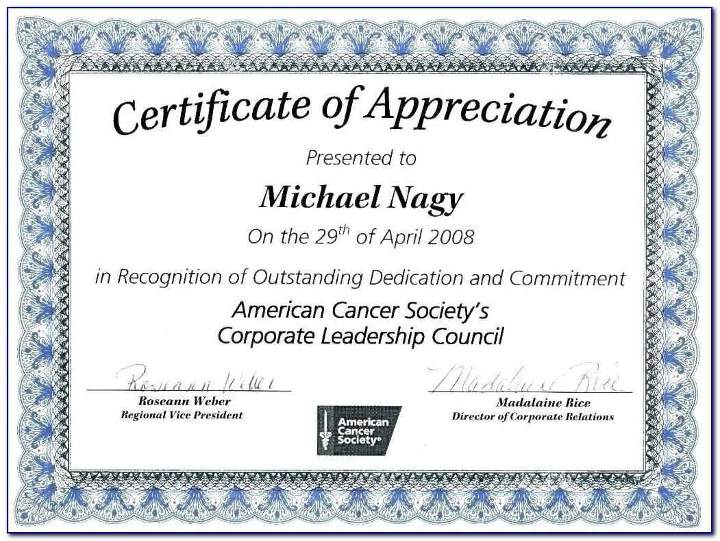 Certificate Of Appreciation Template Free Publisher