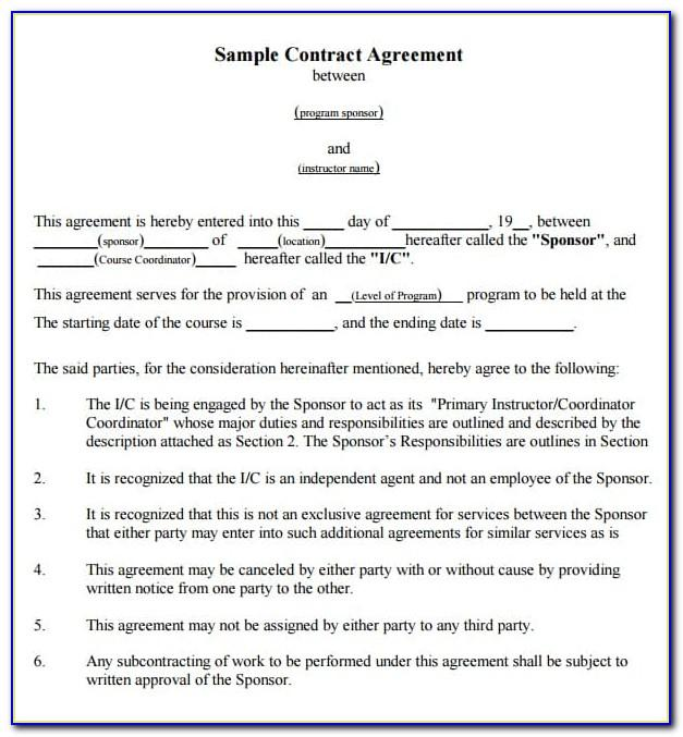 Contract Agreement Format Between Two Companies In India