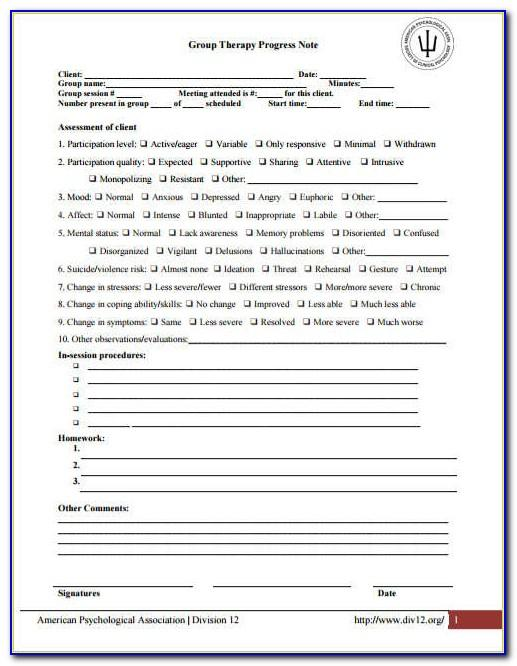 Counseling Progress Note Template Pdf