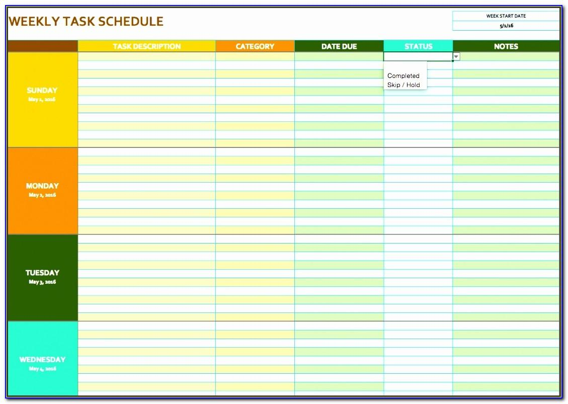 Daily Task Schedule Template Excel