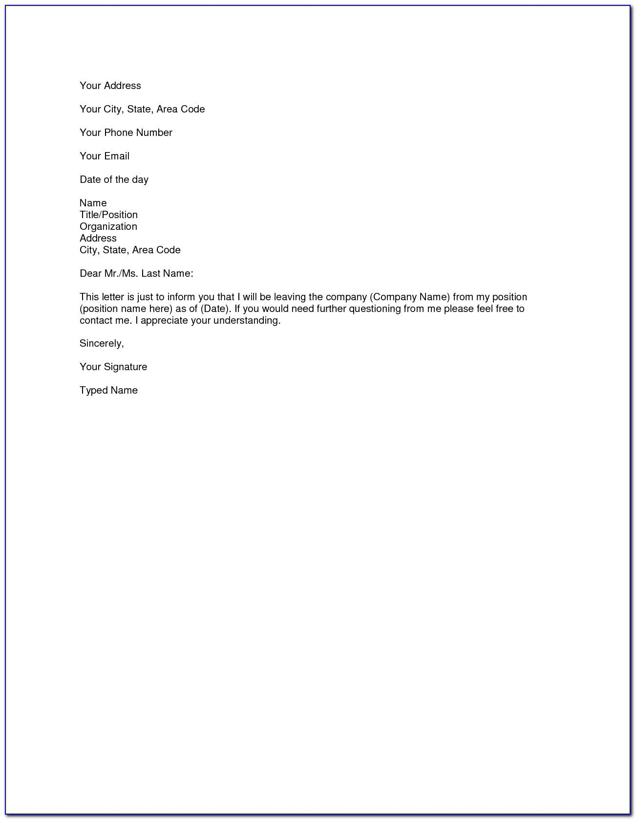Director Resignation Letter Template Nz