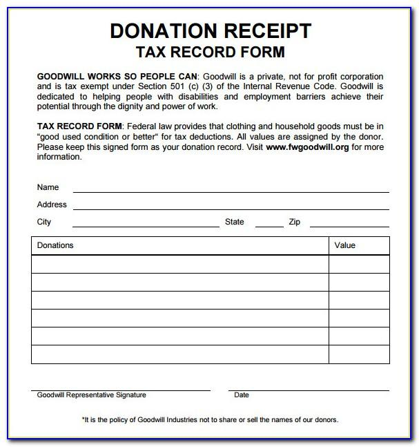 Donation Receipt Form For Tax Purposes