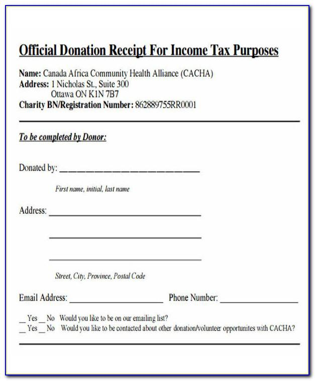 Donation Receipt Tax Record Form