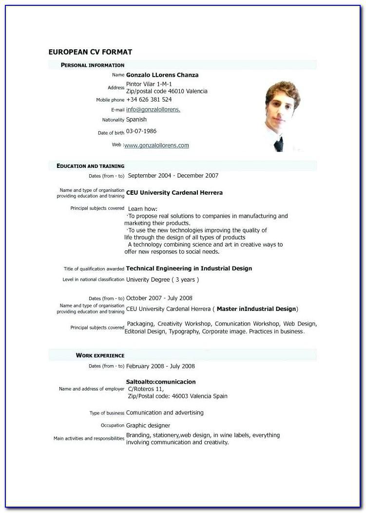 Download Format Curriculum Vitae Doc