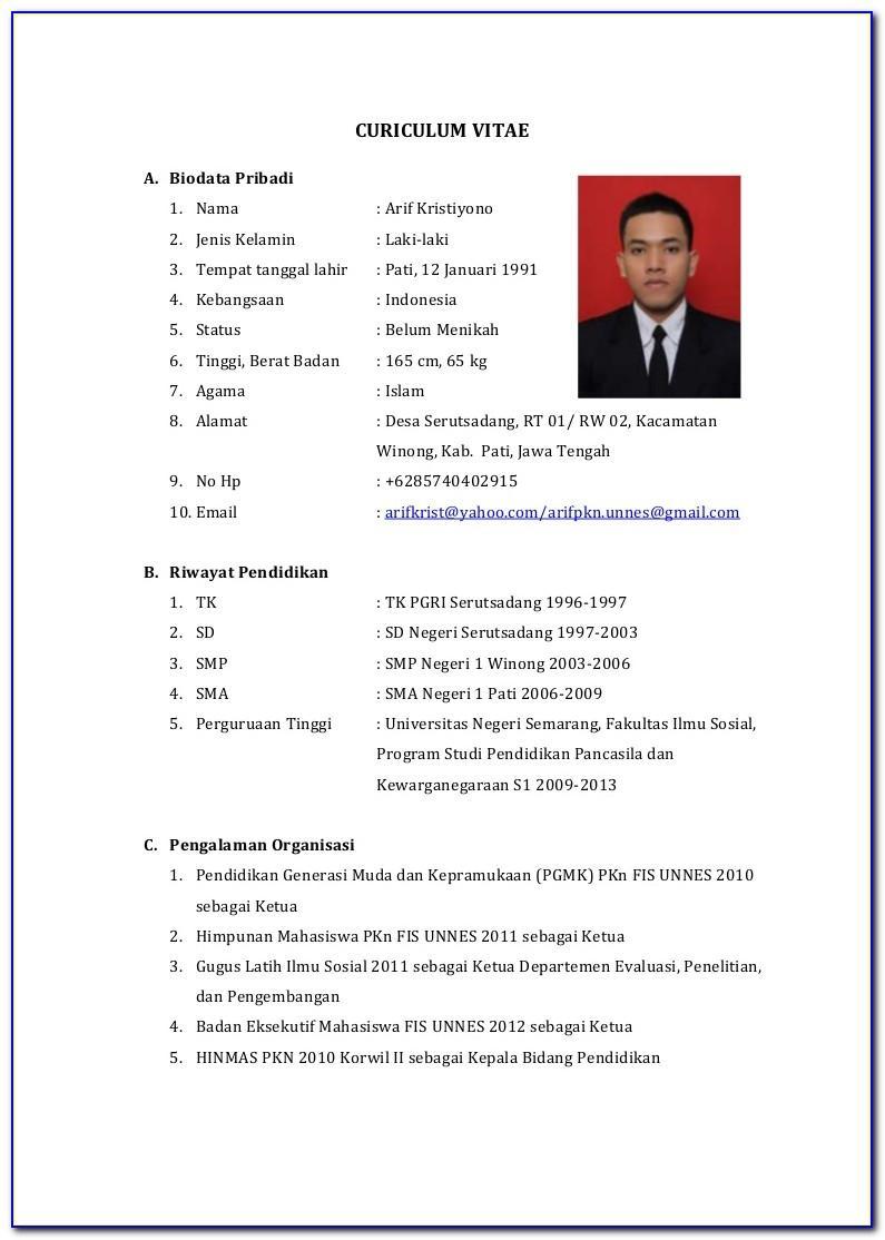 Download Format Curriculum Vitae Indonesia
