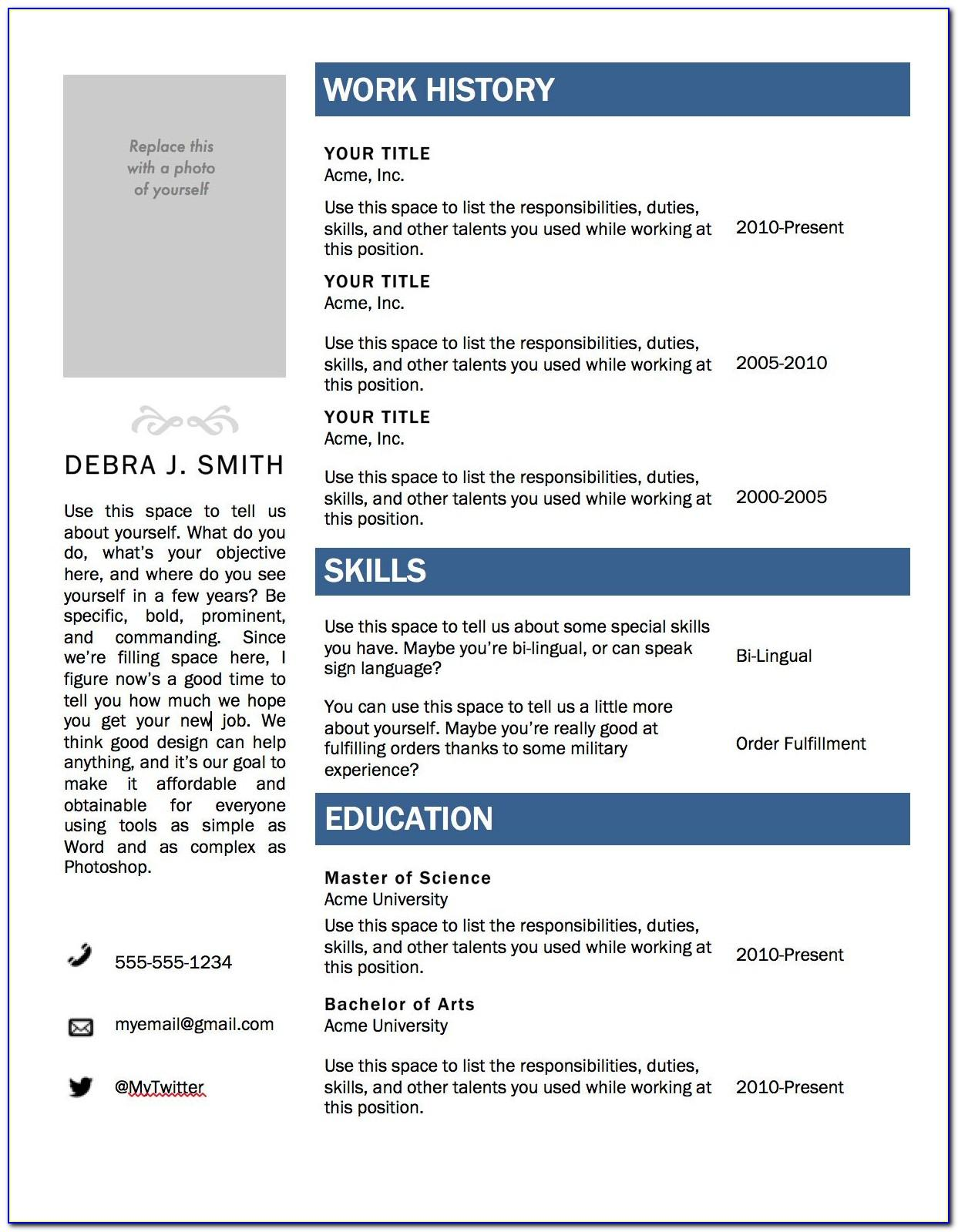 Download Templates For Curriculum Vitae