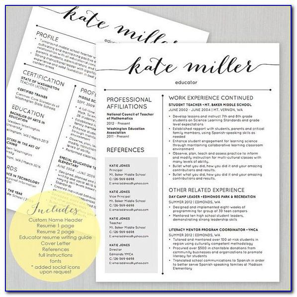 Editable Teacher Resume Template Free