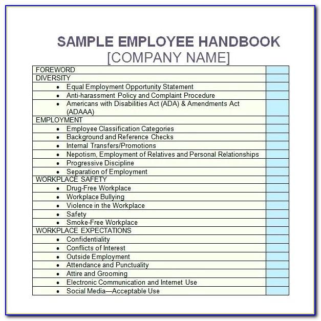 Employee Handbook Template Word Uk