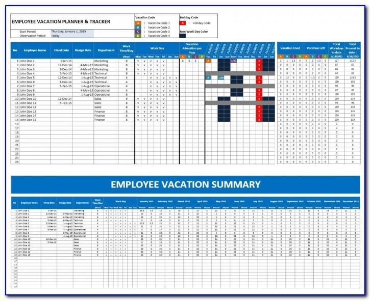Employee Vacation Calendar Template 2018