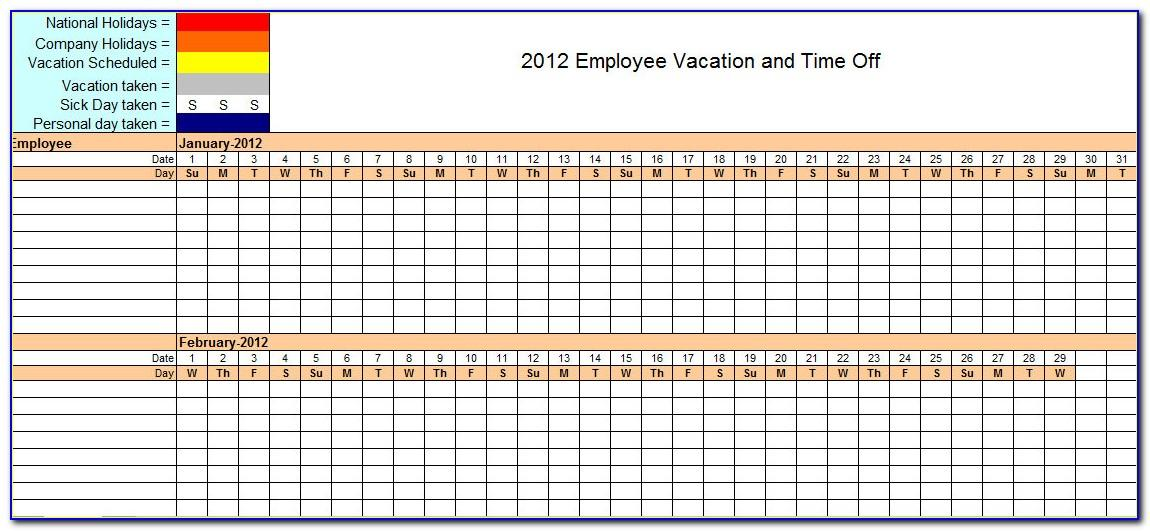 Employee Vacation Calendar Template Excel