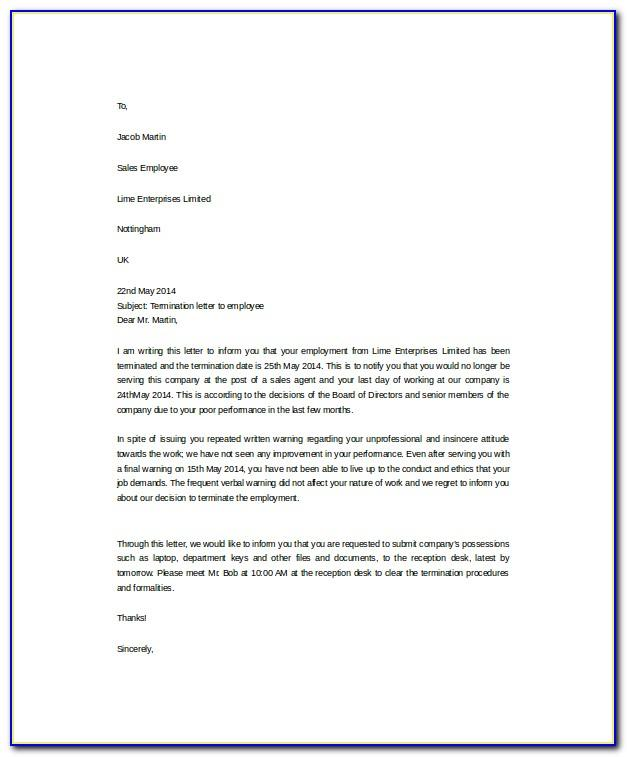 End Of Casual Employment Letter Template