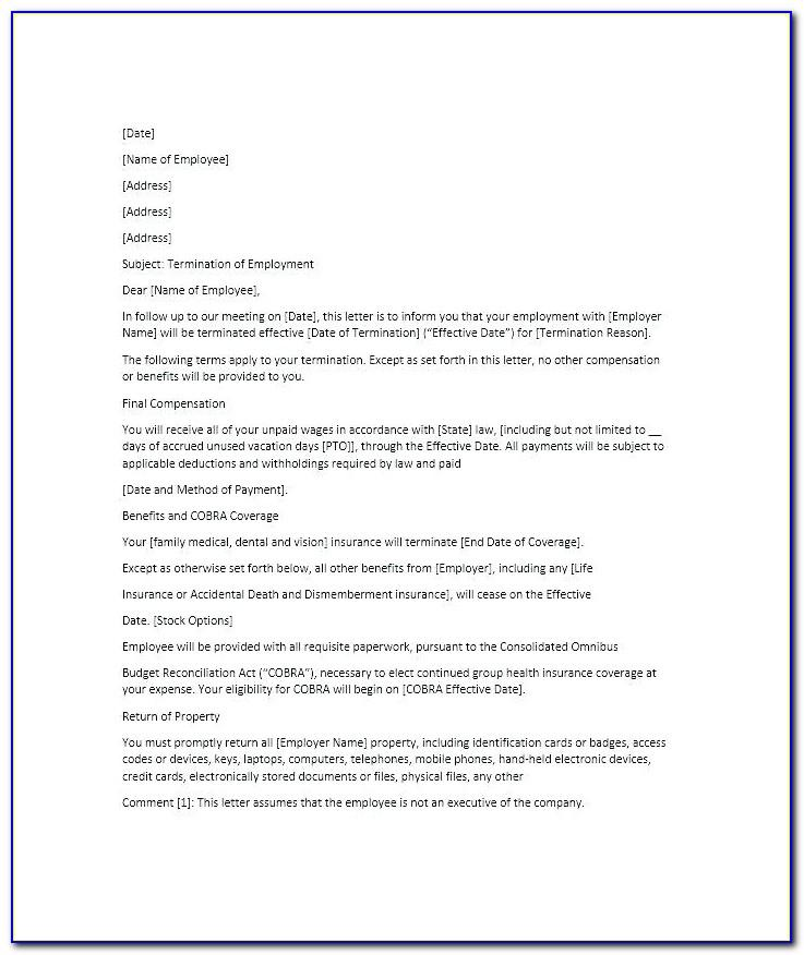 End Of Employment Notice Letter Template