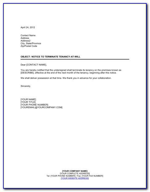 Ending Tenancy Agreement Letter Template