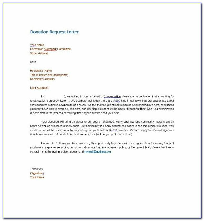 Example Donation Request Letter