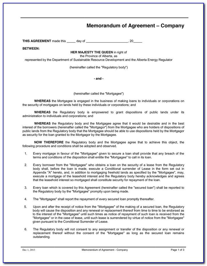 Example Memorandum Of Understanding Pdf