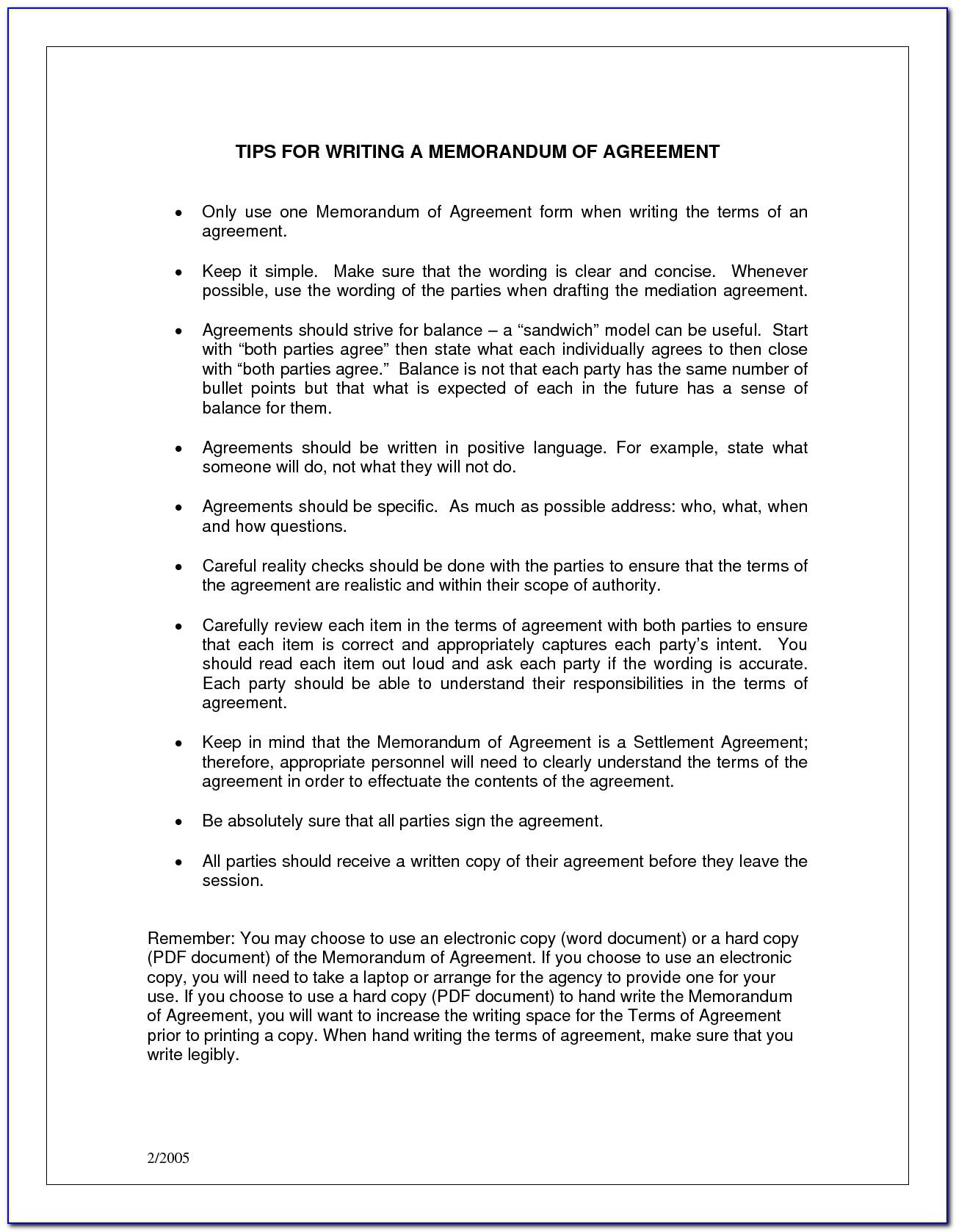 Example Memorandum Of Understanding