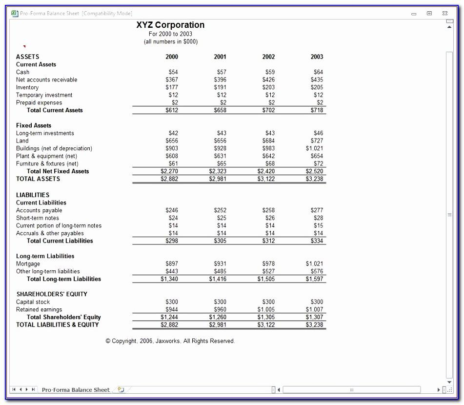 Example Of Comparative Balance Sheet And Income Statement