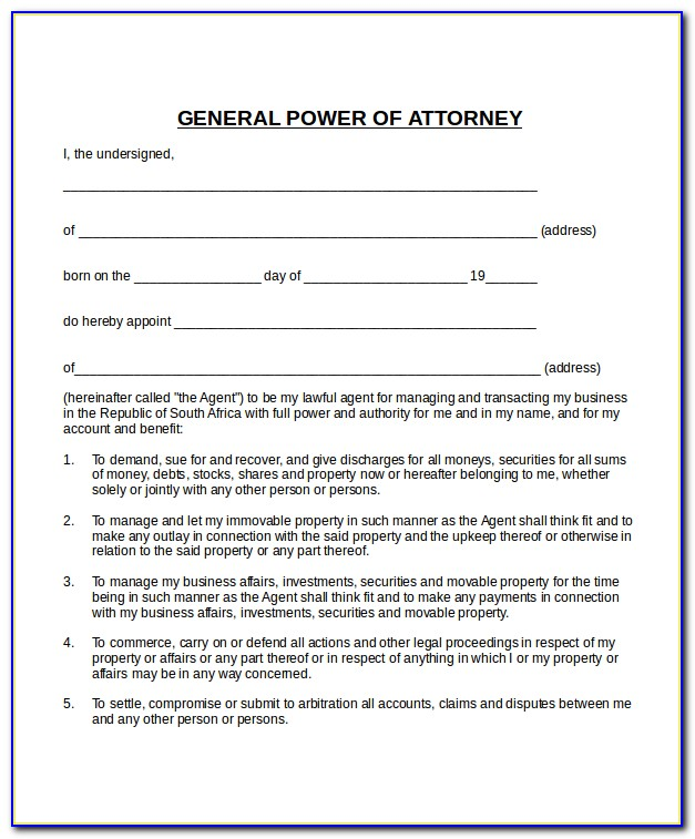 Example Of Power Of Attorney South Africa